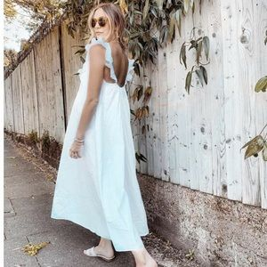 H&M White Ruffle Strap Midi Dress Blogger Sold Out